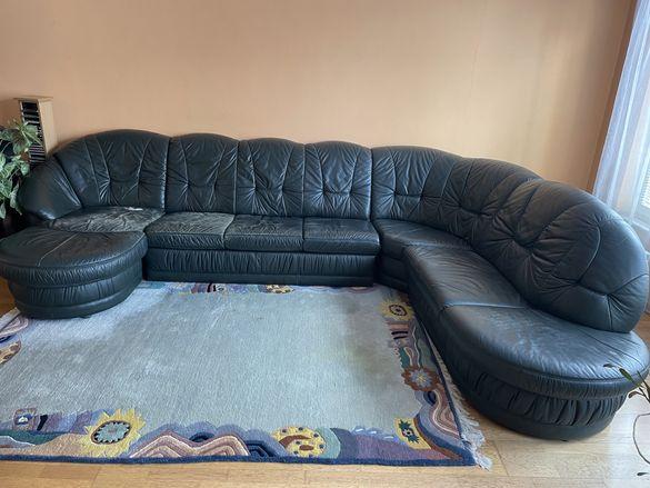 Ъглов диван от естествена кожа
