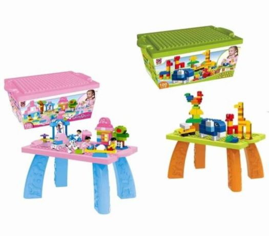 Joc 100 cuburi mari cu masuta roz,verde/tip Lego Duplo,2ani+