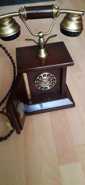 SITEL Telefon fix Nou, aspect vintage, in lemn, cu disc + bonusuri