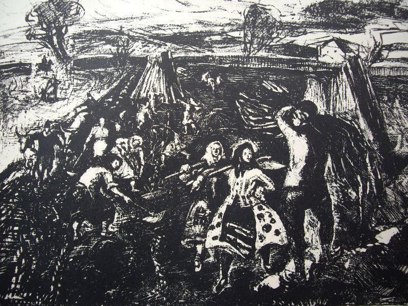 """Гравюра """"На полето"""" от Мариана Петрашку-Риглер 1956-57 гр. Варна - image 1"""