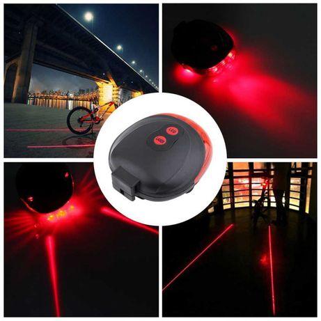Stop bicicleta cu 5 leduri cu 7 jocuri de lumini si 2 lasere