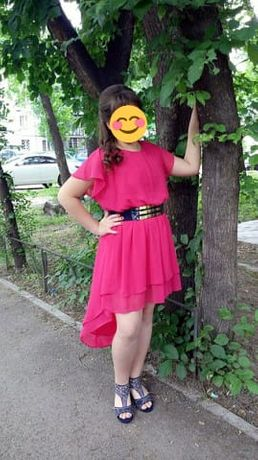Платье шифоновое, малинового цвета. Размер 44-46