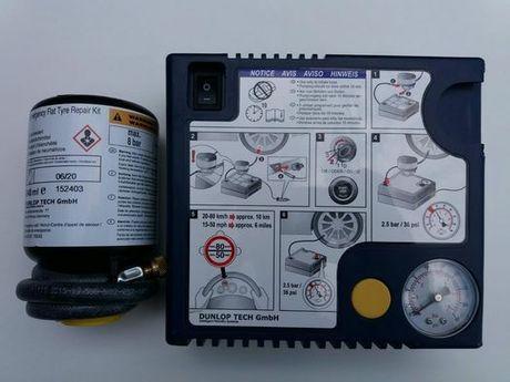 Compresor umflat roti+solutie pana originale Dunlop produse Noi