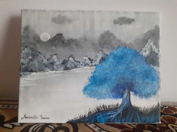 Peisaj de iarna pictat manual