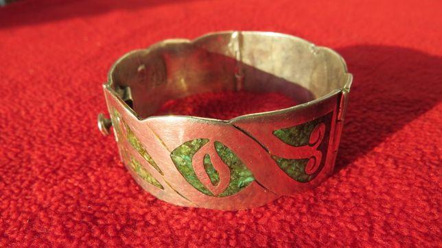 Bratara argint veche, Mexic 925, email