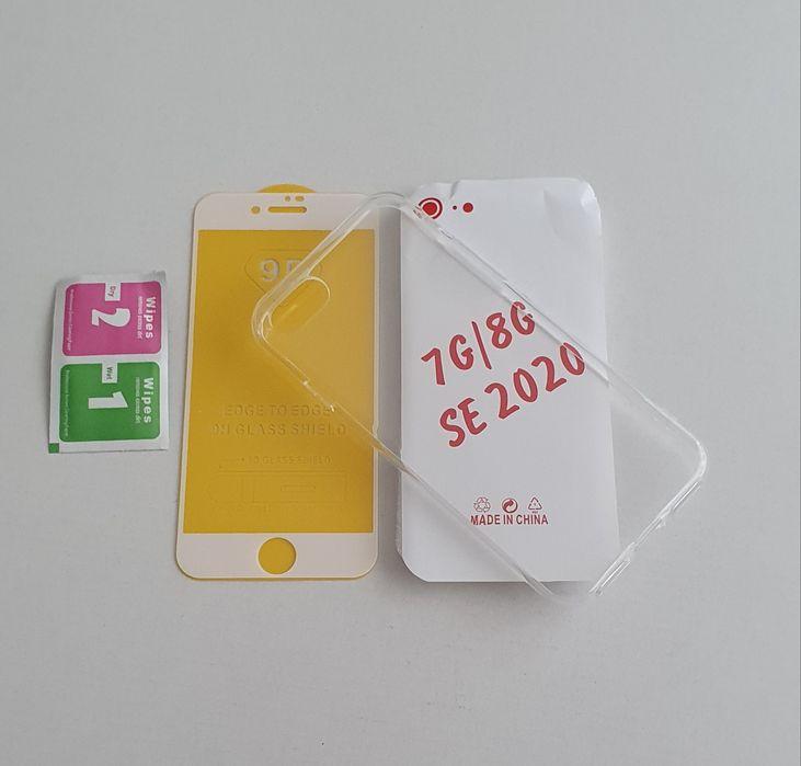 Iphone SE 2020 7 8 . Set .Husa Silicon Transparent + Folie Sticla 9D Bucuresti - imagine 1