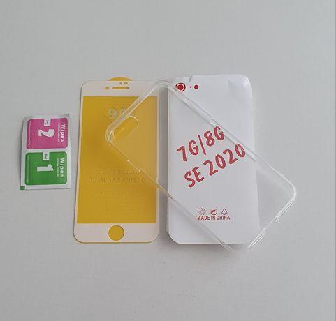 Iphone SE 2020 7 8 . Set .Husa Silicon Transparent + Folie Sticla 9D