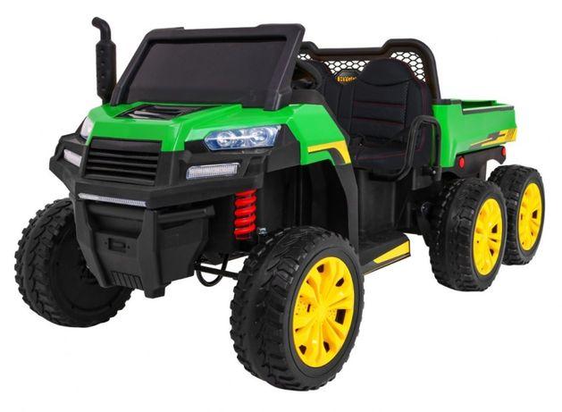 """Masinuta electrica """"Tractor tip ferma"""" 4x4 LUX cu remorca (A730) Verde"""