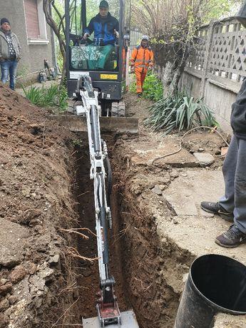 Inlocuire canalizare / Reparatii canalizare cu miniexcavator