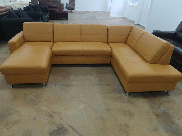 """Оранжев кожен ъглов диван """"Model 5699"""" с механизъм легло"""