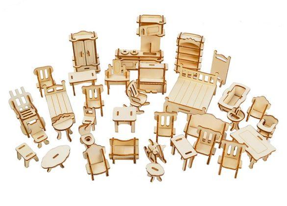 Мебели от дърво - обзавеждане за къща за кукли - 34 модула