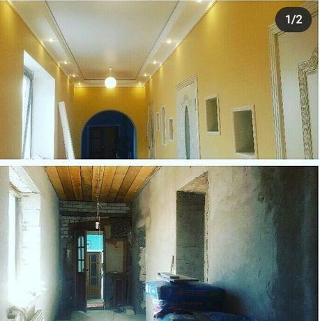 Ремонт под ключ, выравнивание стен, обои,багеты,капителии,гипсокартон