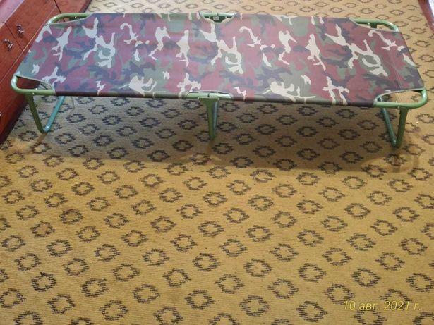 Раскладушка, б/у, 185×62×36 см, брезент