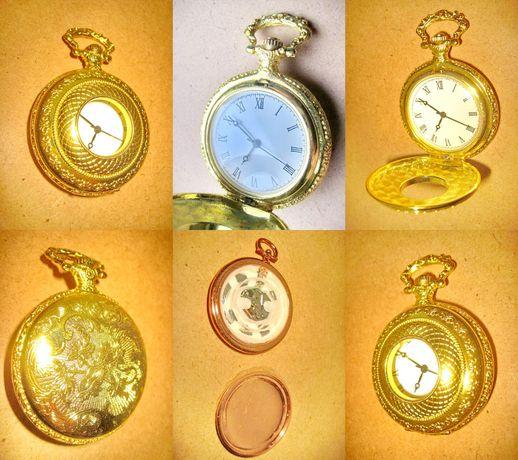 7739- Ceas buzunar metal aurit gravat cadran cifre romane-Swiss parts