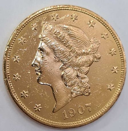 Moneda din aur Liberty 20 Dolari 1907