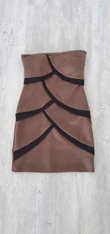 Rochie top maro cu negru