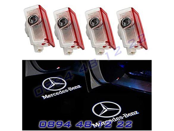 LED ЛЕД Светещо Лого Проектор Врата Автомобил Кола Mercedes Мерцедес