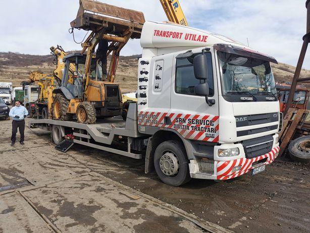 Transport utilaje, cap tractor, bascula, buldoexcavator, taf padure