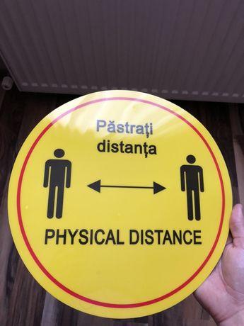 Indicator 'Pastrati distanta' diametru 30cm,cu autoadeziv Nou, disponi