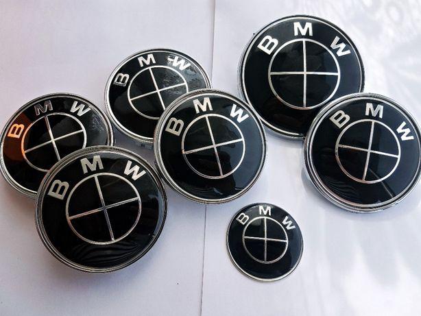 Set BMW 7 buc embleme negre capota portbagaj volan capace jante