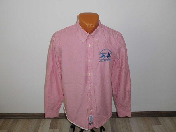 Camasa La Martina slim-fit originala bumbac alb cu rosu marimea M