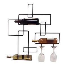 Rafturi pentru sticle de vin cu suport de pahare