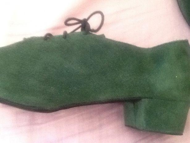 Pantofi de dans noi din piele întoarsă verde nr 37 de dama sau barbati