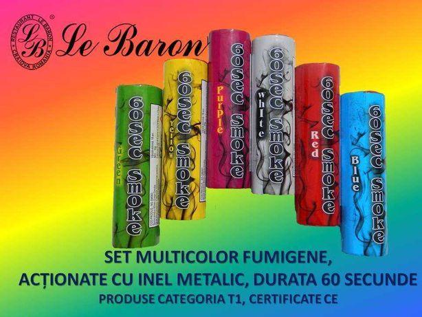 Fumigene colorate cu inel metalic - 60 secunde