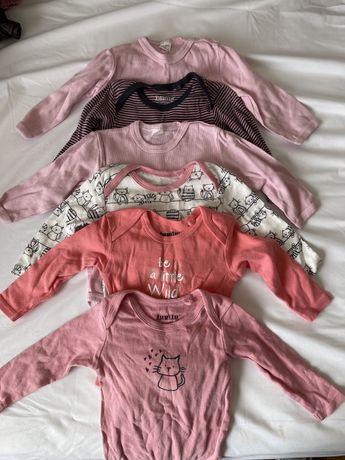 Дрехи за момиче 3-6м бодита, блузи, клинове