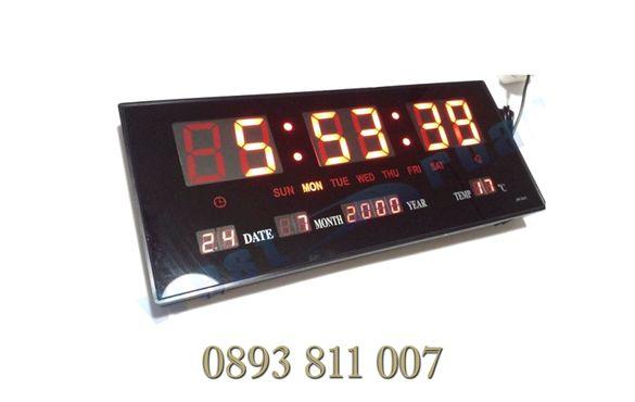 ПРОМО! Голям Led електронен стенен часовник + температура