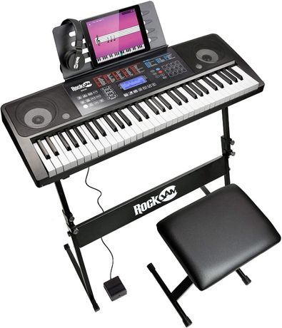 Синтезатор Дигитално Електронно Пиано 61 Клавиша Статив Стол Слушалки