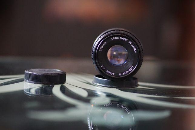 Obiectiv foto Cosina 50mm f2. + adaptor pk-nex