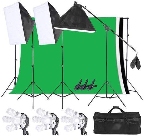 Kit Studio Foto Set Lumini Profesionale softbox / fundal / echipament