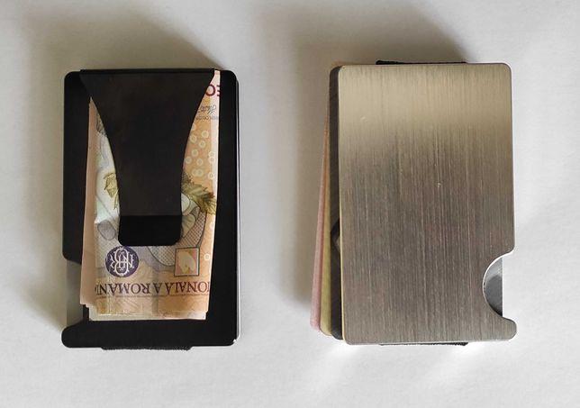 Portcard / portofel minimalist din aluminiu cu protectie RFID