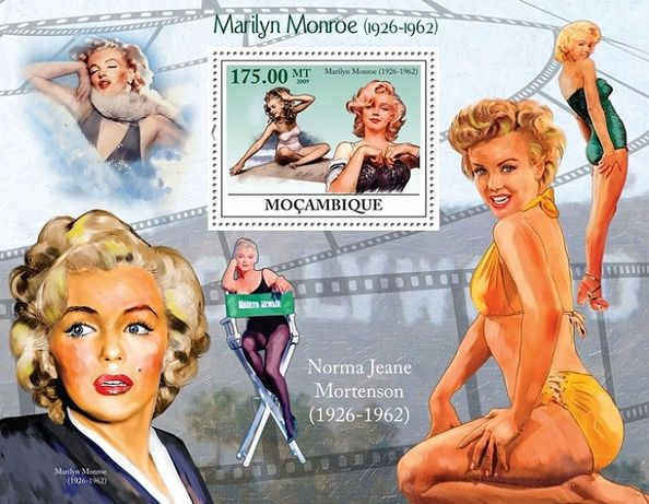 Super colita stampilata timbre Mozambic tema Marilyn Monroe