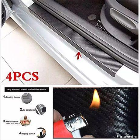 Set 4 bucăți fibra carbon vinil protecție praguri auto