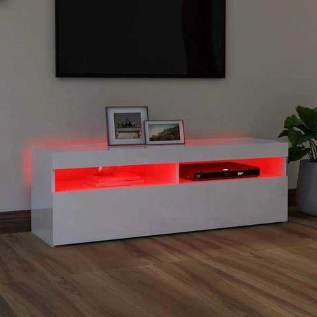 Comodă TV cu lumini LED, alb extralucios, 120x35x40 cm