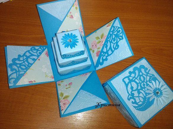 Експодираща кутия торта,обувки, подарък за рожден ден, сватба, кръщене