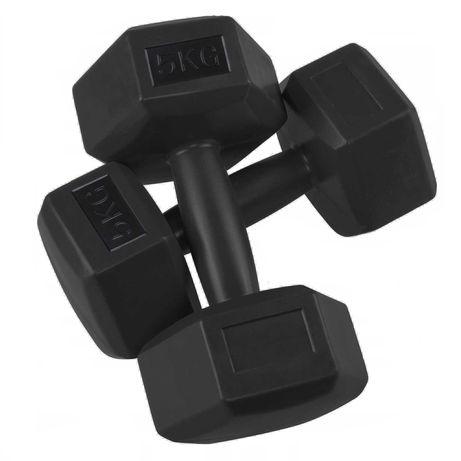 Set 2 Gantere basic pentru fitness din cauciuc, 2x5kg, culoare negru