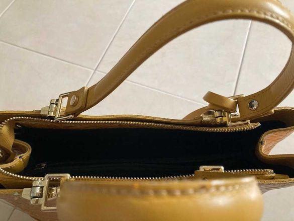 Гофрирана кожена чанта. Стильная сумка из рифлёной натуральной кожи.