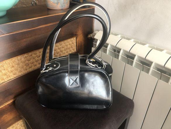 Стилна чанта Mango,ефектна чанта в бежево и кафяв лак,чанта CH и чанта