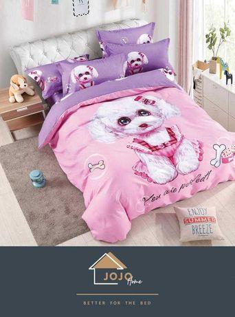 Lenjerii pat copii model caini ursuleti animale animatii finet bumbac