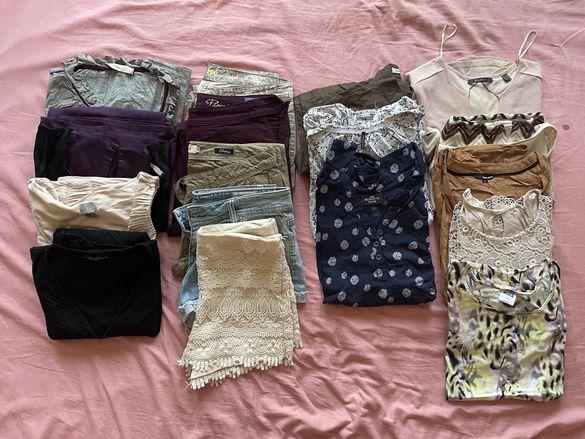 Лот от 17 броя дамски панталони,ризи,потници,туники,рокли