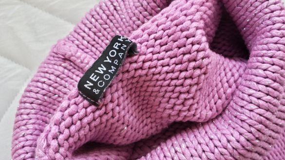 пуловер-поло с пищна яка и сребристи нишки