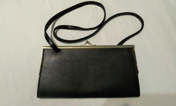 Дамска мини чанта за през рамо - естествена кожа