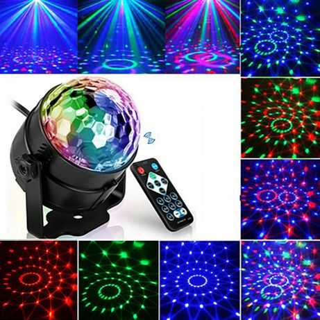 Proiector Laser Disco cu Senzor de Sunet LED RGB Multicolor Nou ambalt