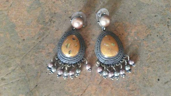 Дамски обеци с камък