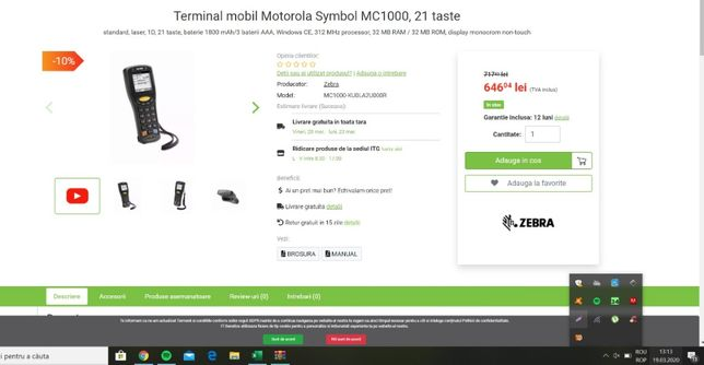 Terminal Motorola Symbol MC1000, 21 taste, scaner, Windows Ce