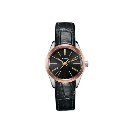Дамски часовник Rado Hyperchrome S Black Sunburst Black Leather