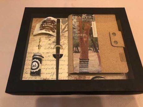 Set cadou vintage - notes cu coperta din pluta si toc de lemn de nuc